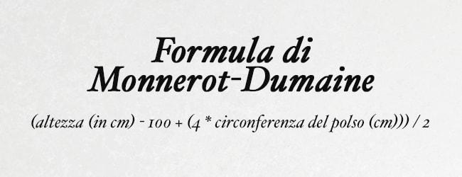 Formula di monnerot per calcolare il peso ideale